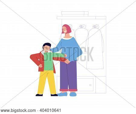 Smiling Nanny Helping Boy To Get Dressed Flat Vector Illustration