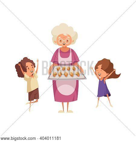 Flat Grandma Baked Buns For Happy Children Vector Illustration