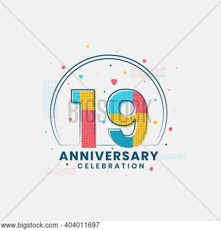 19 Years Anniversary Celebration, Modern 19th Anniversary Design