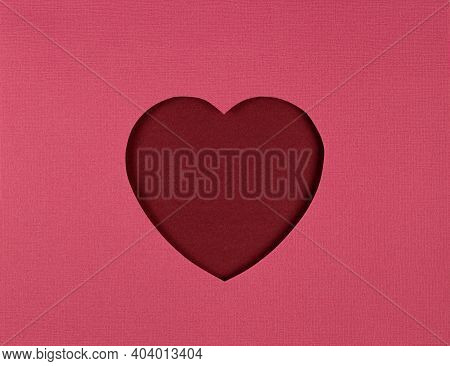 Cutted Paper Heart On Red Background, Paper Cut Out Art Style. Valentines Day Card, Paper Cutting. F