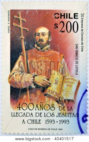 commemorates the 400 years since the arrival of the Jesuits in Chile shows St. Ignatius of Loyola