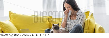 Allergic Woman Sneezing In Paper Napkin While Sitting On Sofa With Cat, Banner