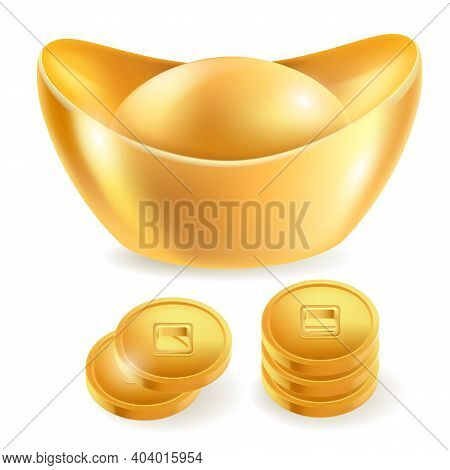 Chinese Gold Ingot Isolated Elements. Vector Illustrations.