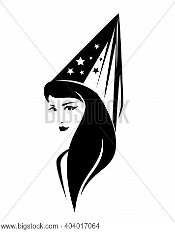 Beautiful Young Fairy Tale Sorceress Wearing Cone Hat With Veil And Stars - Magical Beauty Black And