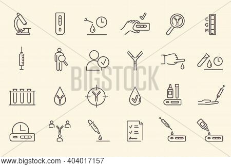 Simple Set Of Black And White Outline Antibody Test Icons. Microscope, Test Tubes, Blood Test, Medic