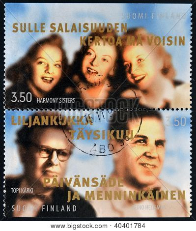 stamps printed in Finland shows various artists: Hamony Sisters Topi Karki - composer and Helismaa