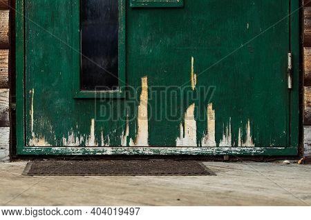 Painted Green Wood Veneer. Peeled Veneer. Bad Glue