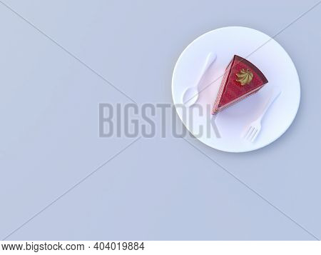 Cake Placed On White Plate In 3d Rendering