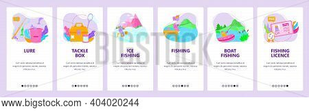 Summer And Winter Fishing Tackle. Fishing Rod, Boat, Lure. Mobile App Onboarding Screens, Vector Web