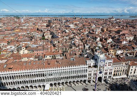 Aerial View From Campanile Belltower Over Venice Rooftops Towards Lagoon And Mainland, Venice, Italy
