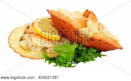 Two Dressed Cromer Crabs Isolated On A White Background