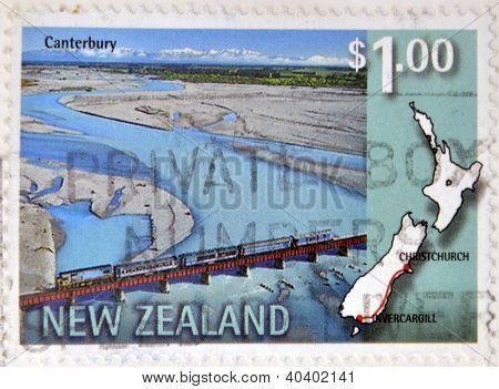 NEW ZEALAND - CIRCA 1997: A stamp printed in New Zealand shows a railway line that connects Invercar