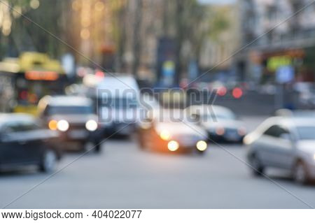 Blurred Blurry Soft Focus Background, Busy Downtown Street With Cars And Lights, Urban City Life Con