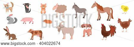 Set Of Happy Funny Pets Or Farm Pets In Flat Style. Cat, Dog, Sheep, Cow, Pig, Rabbit, Chinchilla, H