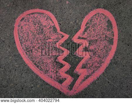 Hand Drawn Heart Breaking Symbol. Love Break Up Symbol. Using Color Chalk Pieces.