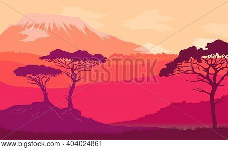 Natural Savannah Landscape Background With Snow-capped Mountain Peaks, Clear Sky Sunset Time, Color