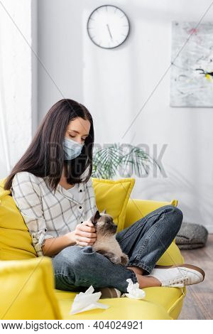 Allergic Woman In Medical Mask Stroking Cat While Sitting On Sofa