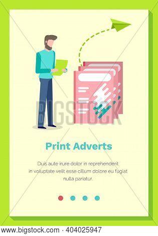 Print Adverts Web Page Or Site Vector Illustration. A Man Makes Paper Airplanes And Sends Letters. W