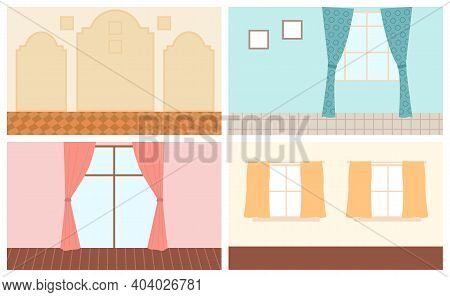 Set Of Scenes Of Home Interior. Cozy Place Of The Room Near Window With Curtains, Paintings And Carp