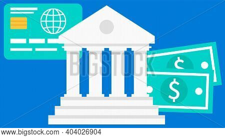 Bank Building On A Blue Background. Money Exchange, Financial Services, Giving Out Funds Concept. Wh