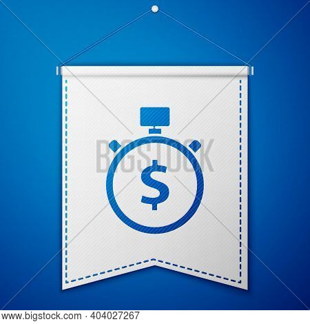 Blue Time Is Money Icon Isolated On Blue Background. Money Is Time. Effective Time Management. Conve