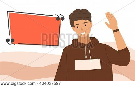 Handsome Guy Waving His Hand. Male Character Shows Greeting Gesture On The Background Of Dialog Box.