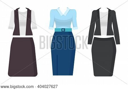 Set Of Three Office Suits For Woman. Collection Of Stylish Office Clothing. Brown Skirt And Jacket.