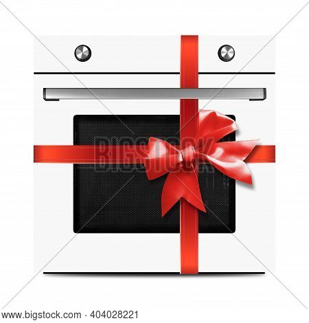 The White Electric Oven Gift Tied Red Bow On A White Background. It Is Isolated, The Worker Of Paths