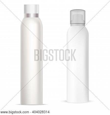Aerosol Spray Can. Deodorant Spray Aluminum Bottle. Freshener Cylinder Tube, Metal Realistic Package
