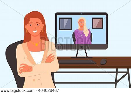 Virtual Meeting On The Internet. Female Characters On Computer Screen. Work At Home In Quarantine Ti