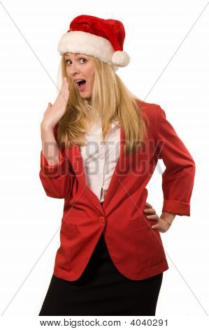 Blond Woman With Santa Hat