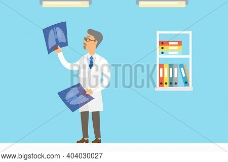 Professional Oncologist Male Character In Hospital Office. Cancer Disease Diagnostic And Treatment.