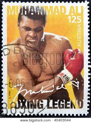 AUSTRIA - CIRCA 2006: A stamp printed in austria shows Muhammad Ali circa 2006