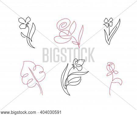 Set Of Vector One Line Flowers Line Art. Minimalist Contour Drawing. One Line Artwork