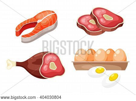 Flat Icons Of Raw Meat, Fish And Eggs, Animal Sources Of Protein. High Protein Foods Set On White Ba