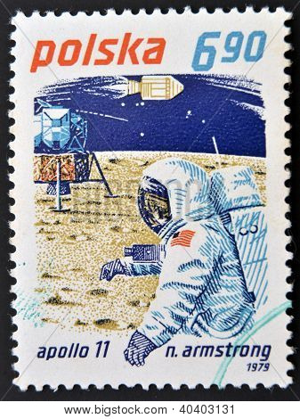 POLAND - CIRCA 1979: A stamp printed in Poland shows Neil Armstrong and Apollo 11 circa 1979