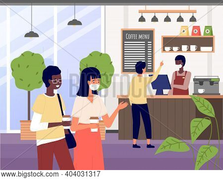 Coffee Shop With Barista In Medical Mask. Coffee Making Equipment. Man Serving Visitors. Guy Buys A