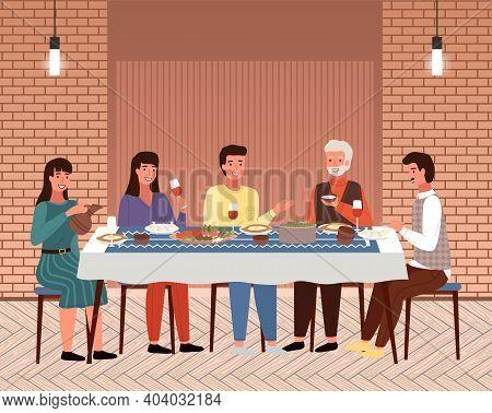 Table With Khinkali And Adjarian Khachapuri. Arrangement Of Furniture. Characters Eating Georgian Fo