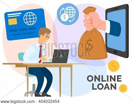 Online Loan Flat Vector Concept. Big Hand Is Appeared From The Monitor And Giving A Money Bag To The