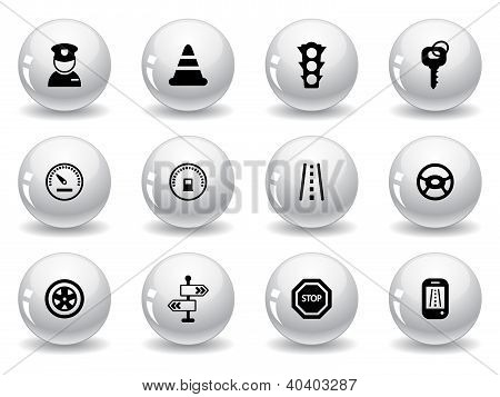 Web buttons, traffic and driving icons