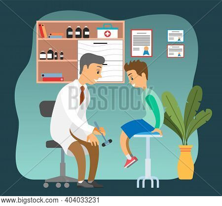 Doctor Doing A Physical Examination Of The Patient. Neurologist Examining Boy For Diagnosis In Hospi