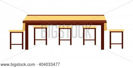 Dining Room Interior Design Vector Illustration. Wooden Dining Table With Stools Isolated On White B