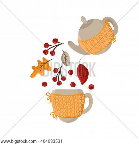 Vector Autumn Pouring Tea Party. Knitted Teapot Pour Fall Elements As Leaves And Berries In Mug. Pla