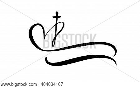 Template Vector Logo For Churches And Christian Organizations Cross On The Heart. Religious Calligra