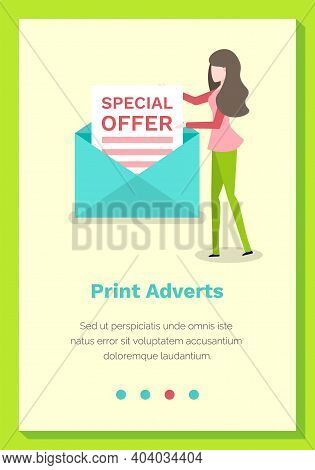 Special Offer On Paper. Print Adverts Webpage Or Site Vector Illustration. Woman Folds The Letter In
