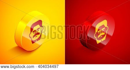 Isometric Portrait Of Joseph Stalin Icon Isolated On Orange And Red Background. Circle Button. Vecto