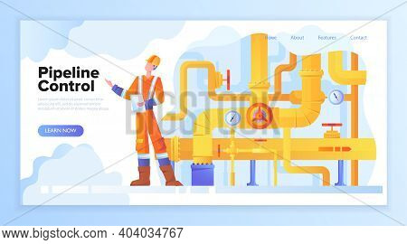 Pipeline Concept. Gas Or Oil Production Operator In Workwear Standing Near Pipe Valve. Yellow Oil Or