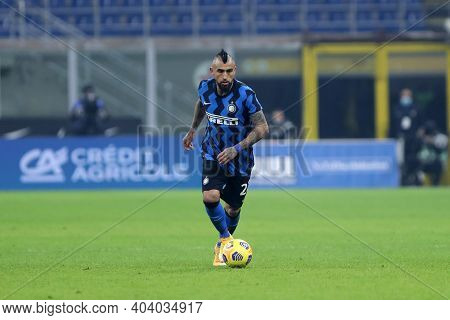 Milano, Italy. 17th January 2021 . Arturo Vidal Of Fc Internazionale  During The Serie A Match Betwe