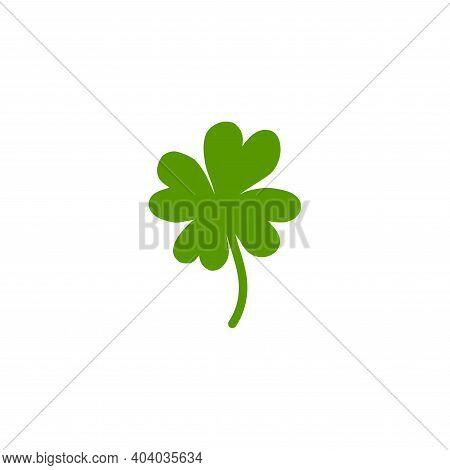 Shabby Hand Drawn Shamrock Icon Isolated On White. Irish Clover Leaf. St Patrick Day Vector Illustra