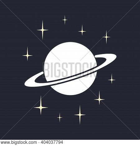 Planet Saturn With Planetary Ring System And Stars On Dark Blue Background. Cosmos Icon. Template Fo